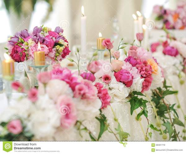 Pink and White Flower Arrangement for Wedding
