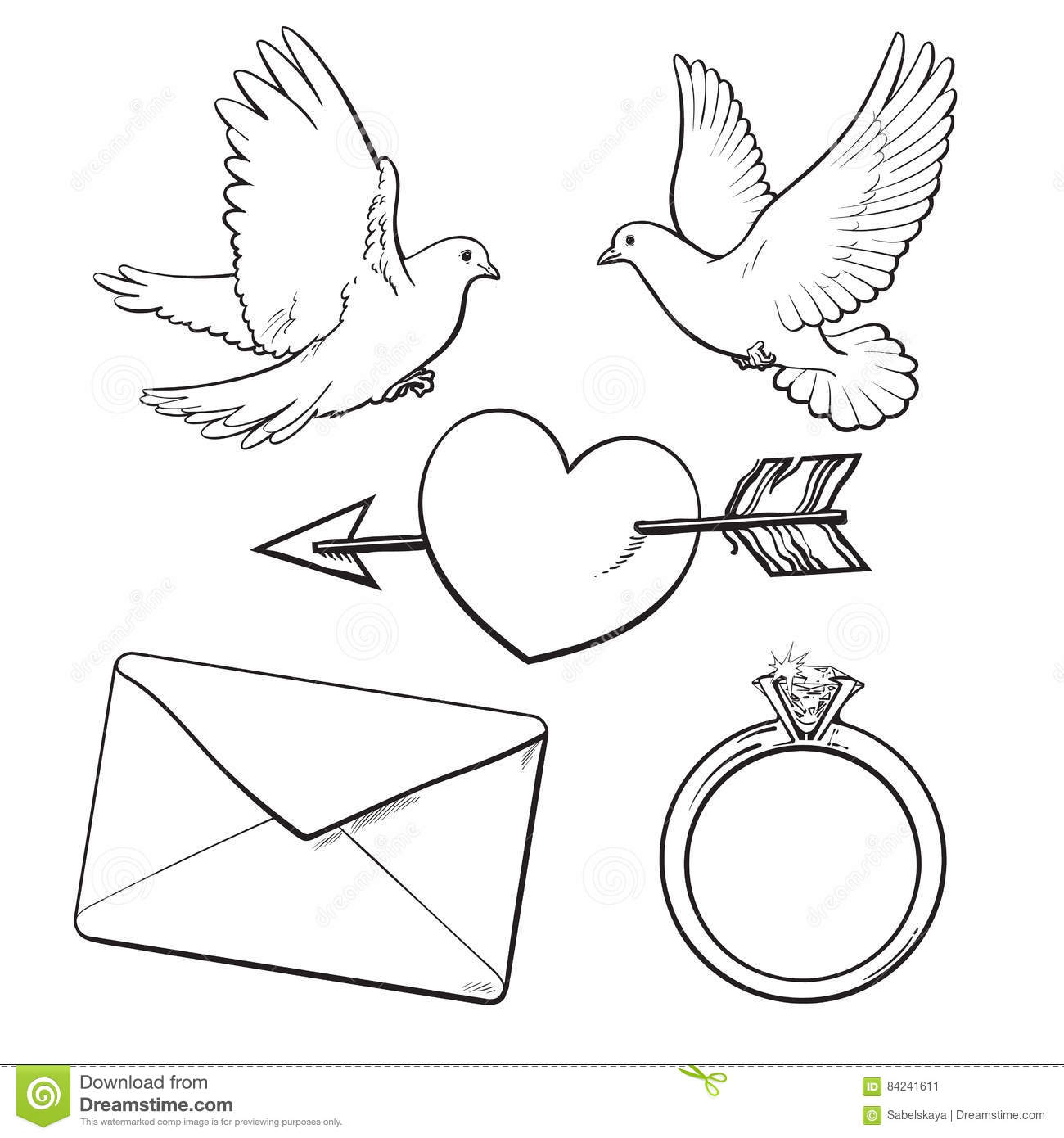 Wedding, Engagement Icon Set With Doves, Heart, Ring, Love