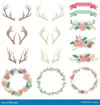 Wedding Flower Antlers Set stock vector. Illustration of