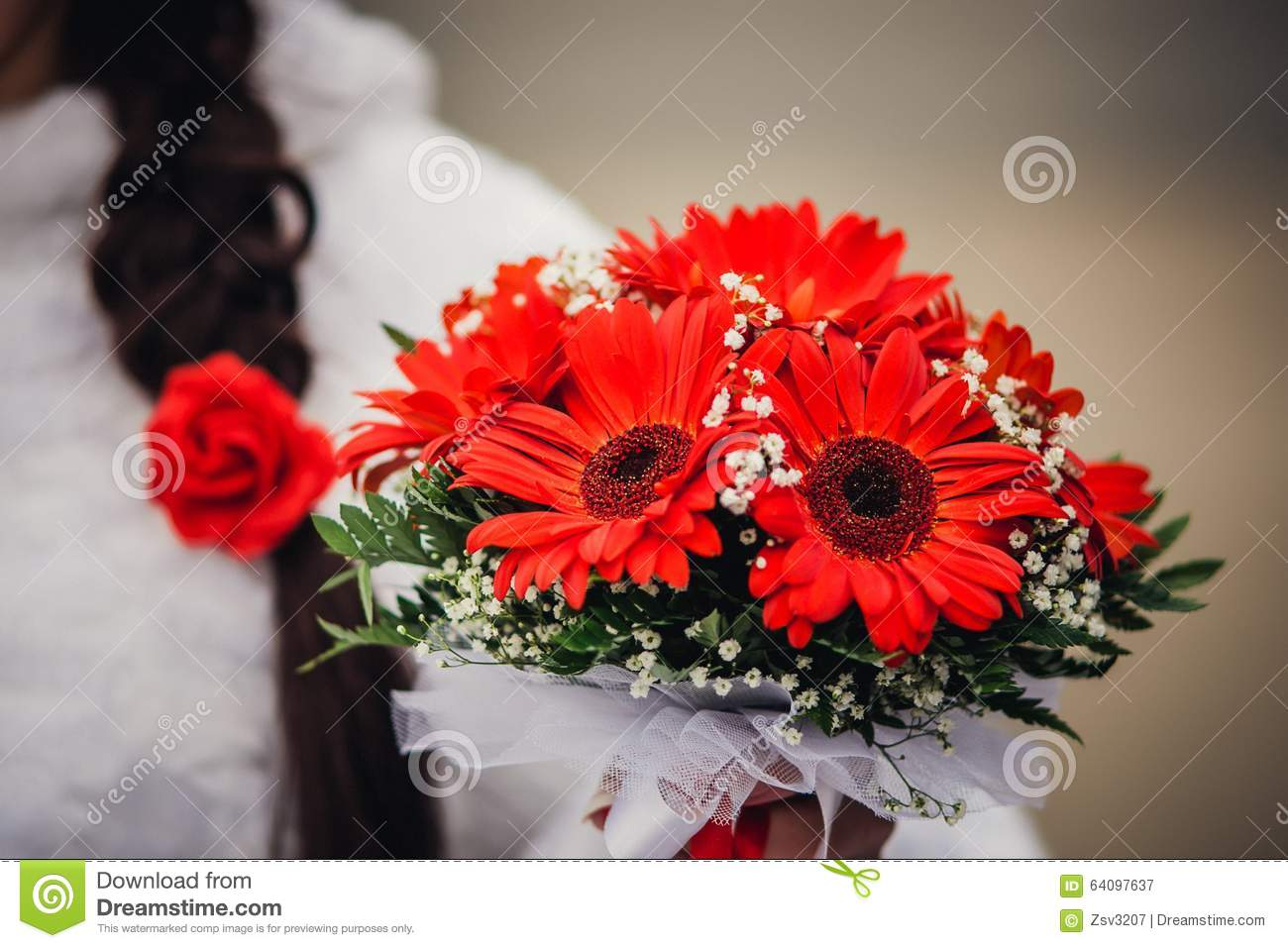 Wedding Gerbers Bouquet, Background Couple In Stock Photo