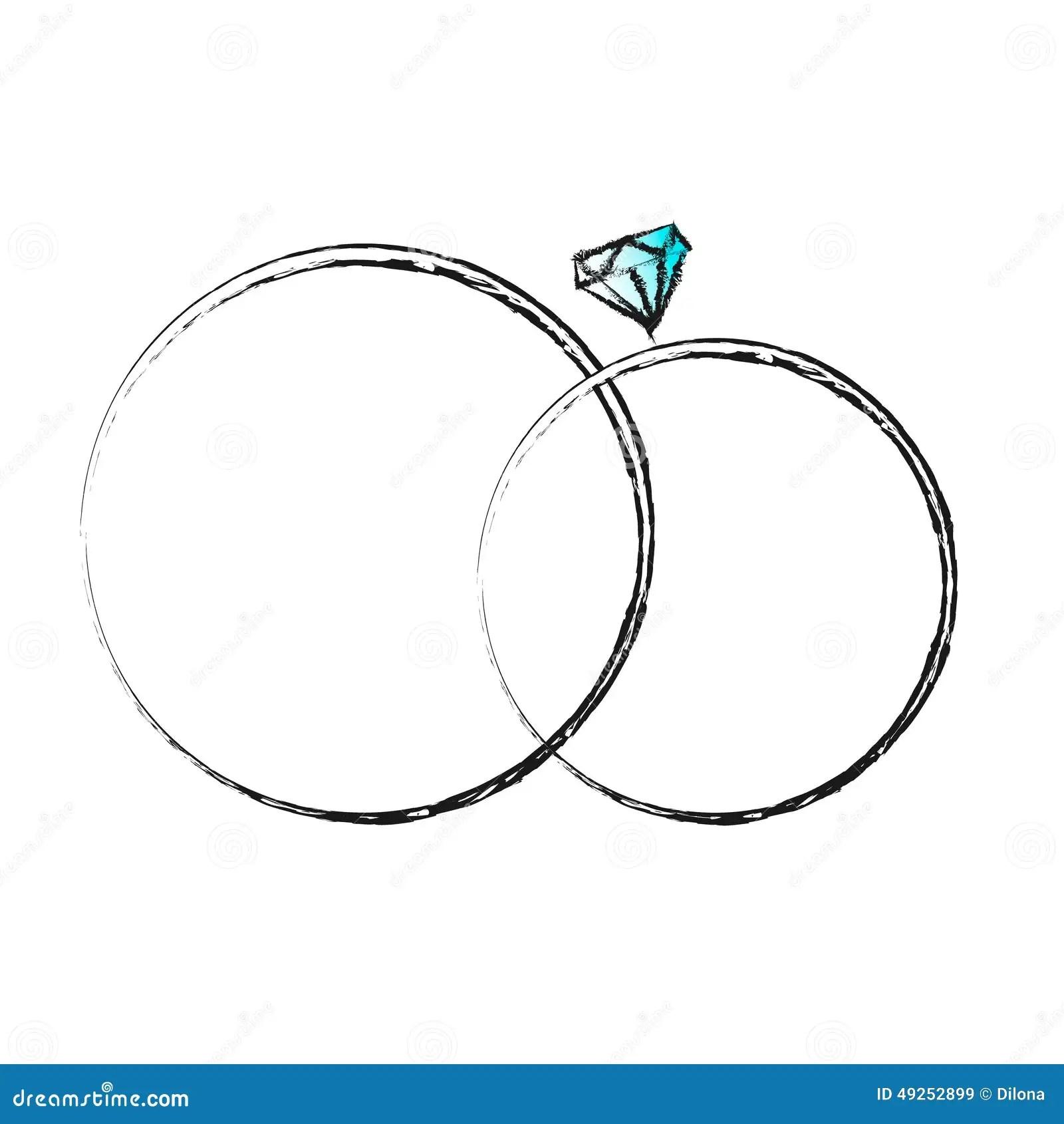 Wedding Hand Drawn Rings Invitation Card Stock Vector