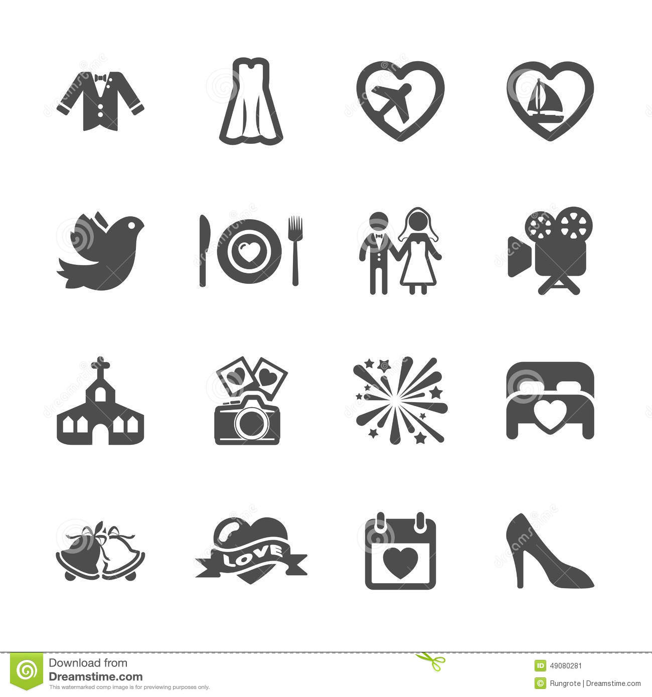 Wedding Icon Set 3 Vector Eps10 Stock Vector Image