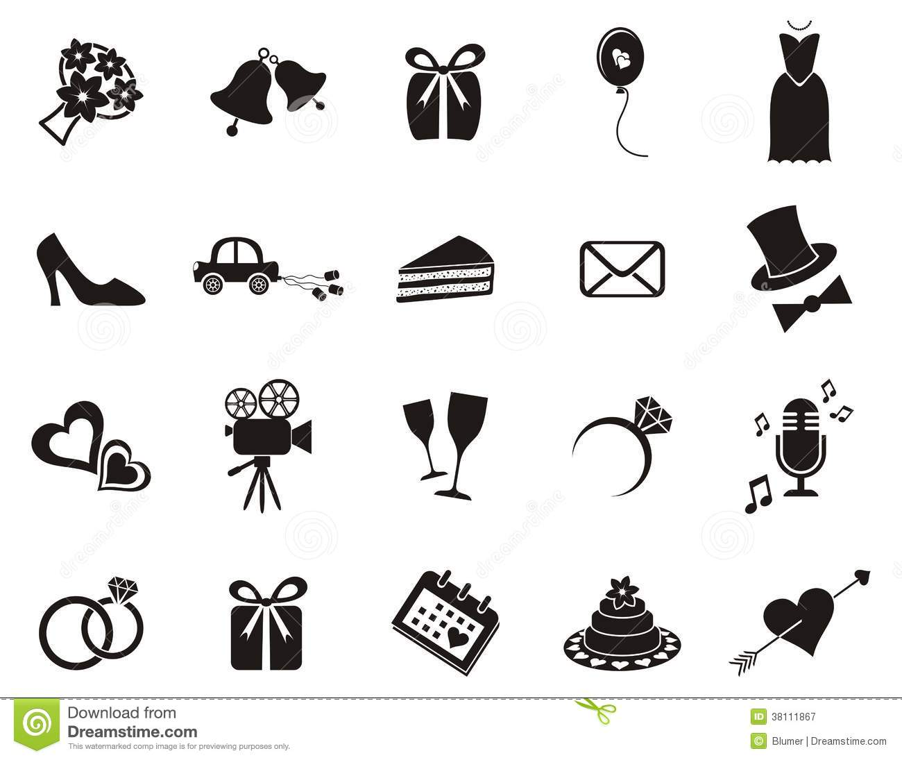 Wedding icons stock vector Illustration of just element