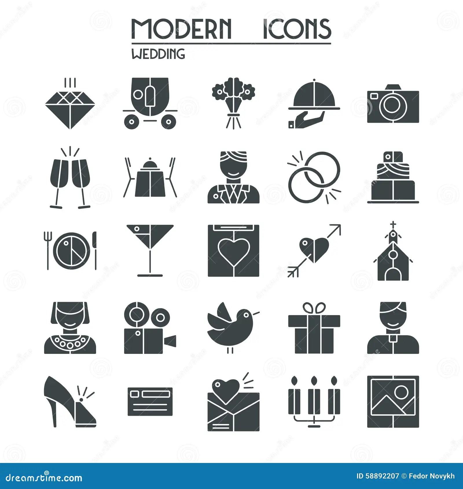Wedding Icons Set Stock Vector Illustration Of Design