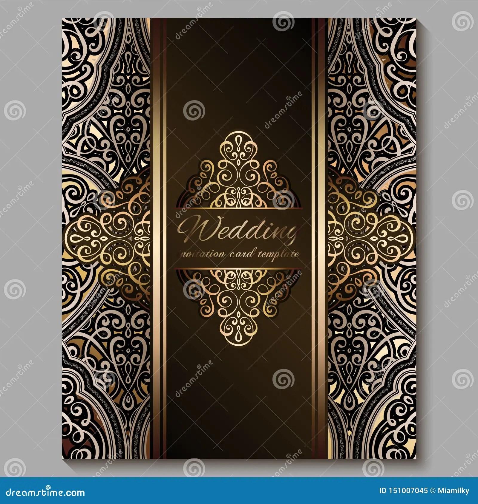 https www dreamstime com wedding invitation card gold shiny eastern baroque rich foliage royal bronze ornate islamic background your design image151007045