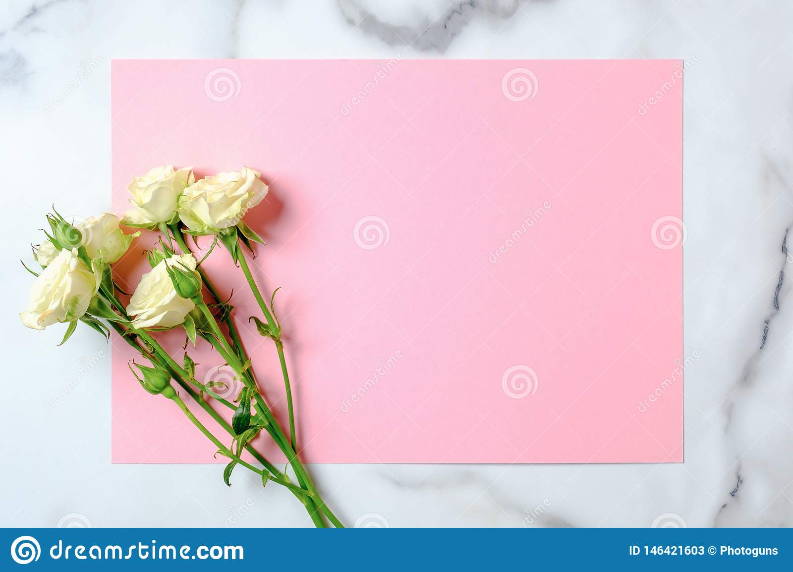 https www dreamstime com wedding invitation card rose flowers blank pink paper card marble background wedding concept flat lay top view wedding image146421603
