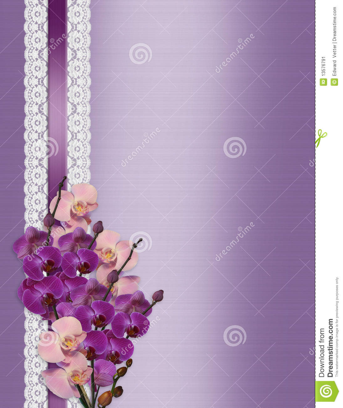 Wedding Invitation Orchids On Lavender Satin Stock