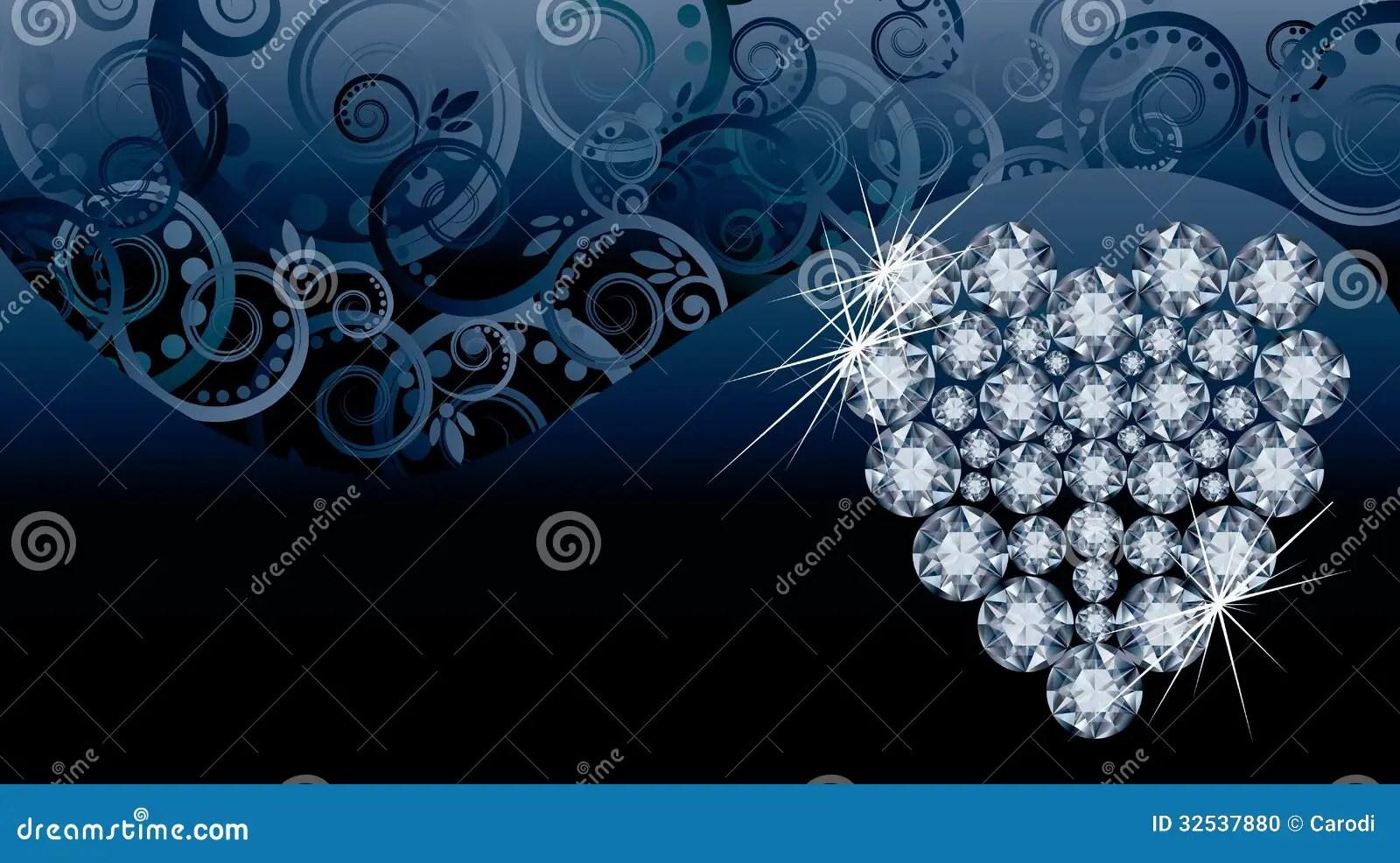 Wedding Love Invitation Card With Diamond Heart Stock
