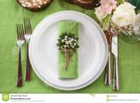 Wedding Place Setting In Beautiful Rustic Style. Stock