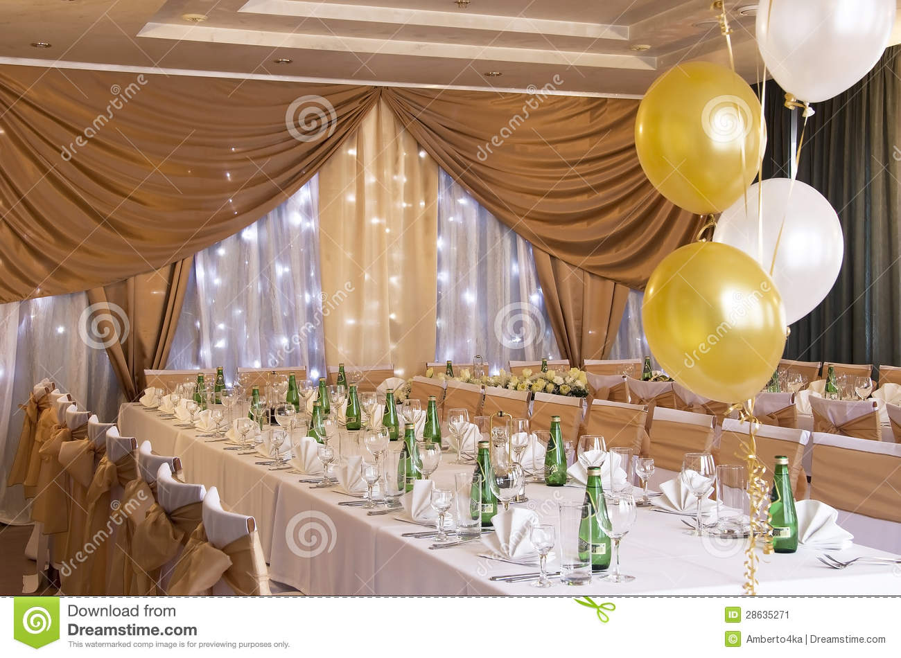 chairs for party hall delta children chair wedding reception with laid tables stock image
