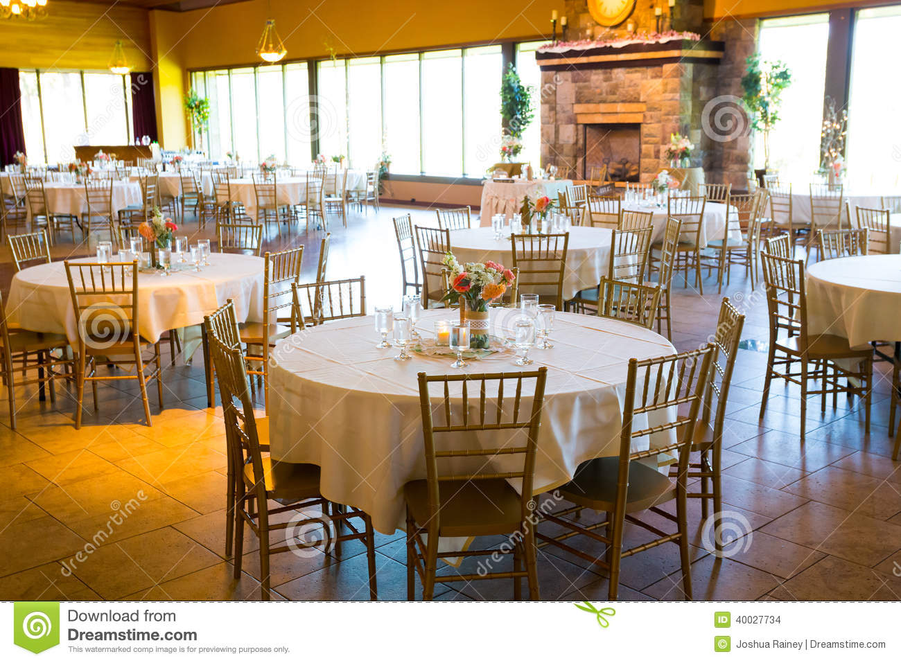 chairs wedding hall swan swivel chair reception tables and seating stock photo image