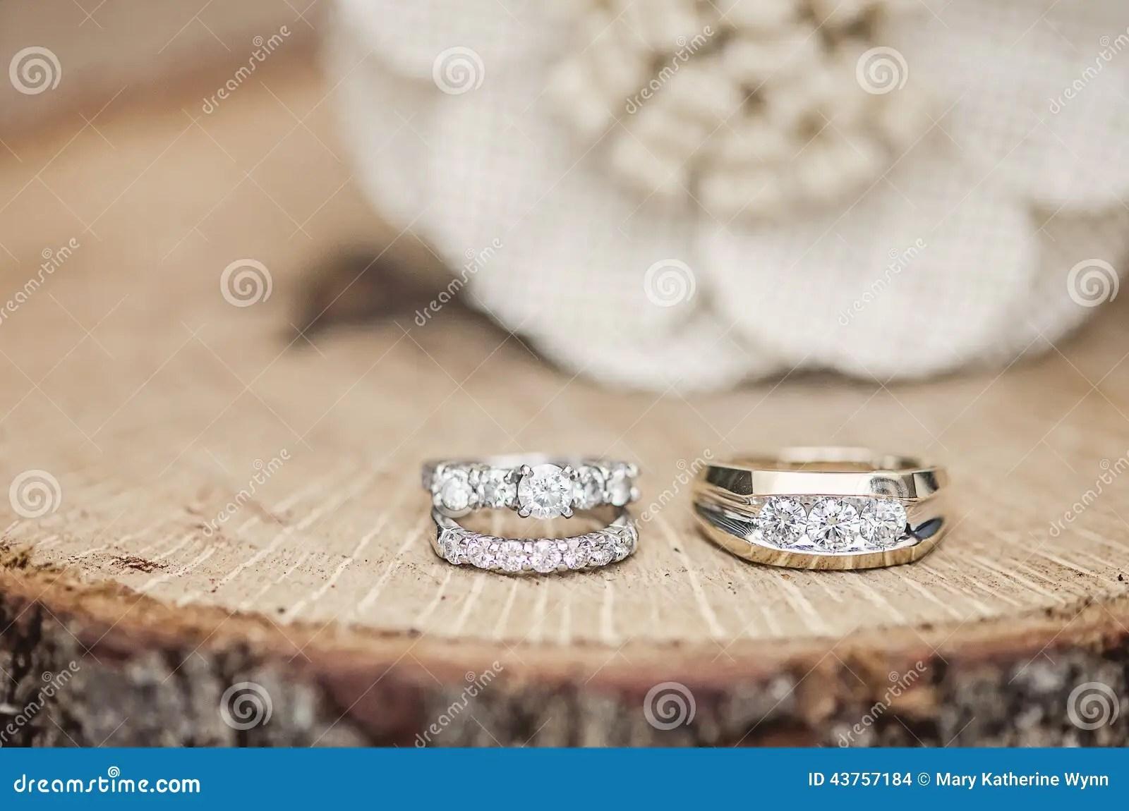 Wedding Rings Rustic Setting Stock Photo Image 43757184