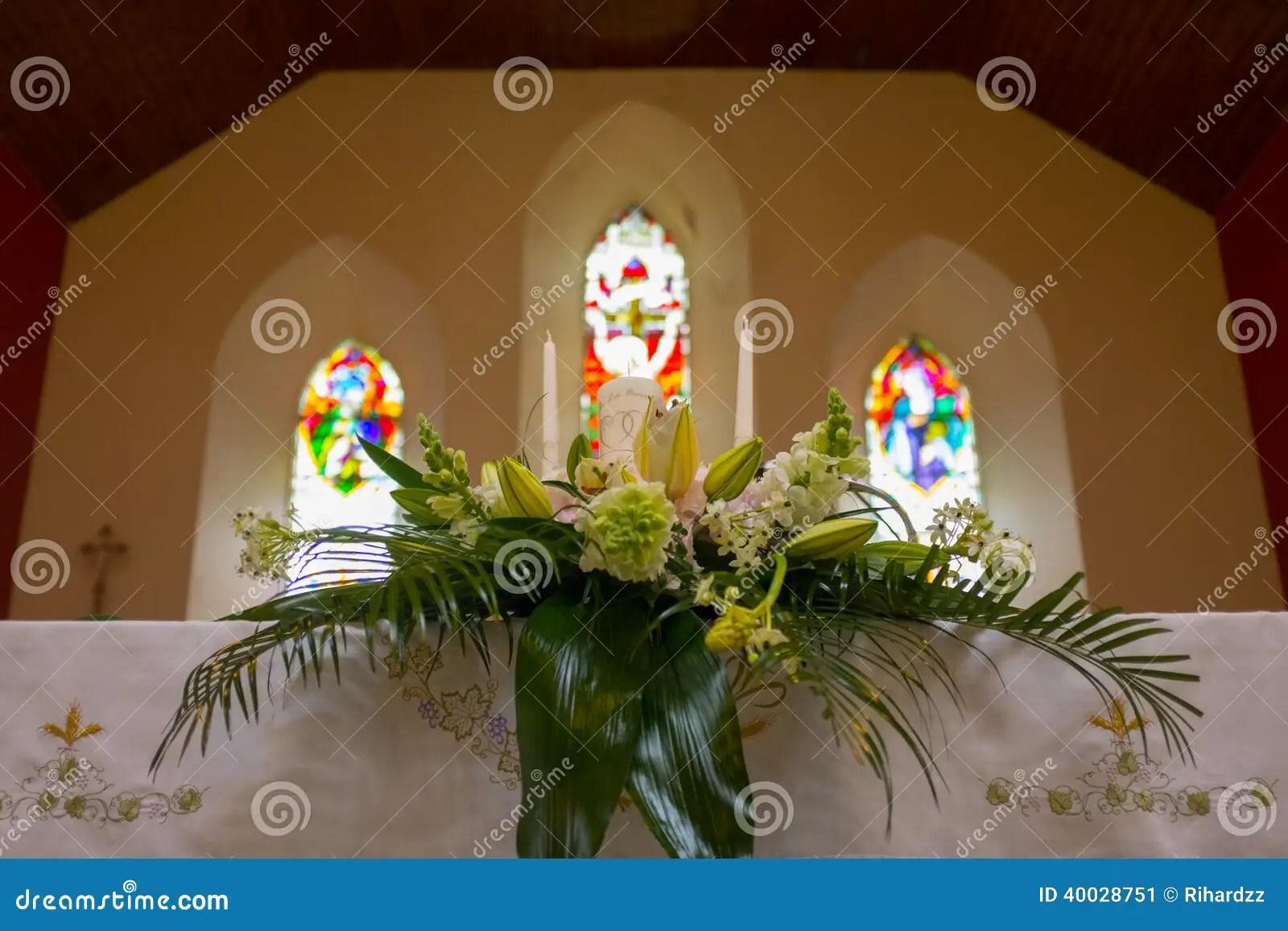 Wedding Set Up In Church Ireland Stock Photo Image