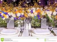 Beautiful Bouquets Of Flowers Set On Table Royalty-Free ...