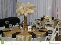 Wedding Table With Gold Accessories Editorial Stock Photo ...