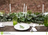 Wedding Table Setting With White Plates Stock Image ...