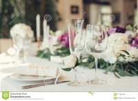 Wedding Table Settings With Flowers Decoration And Candles ...