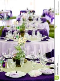Wedding Tables - Green And Purple Stock Image - Image of ...
