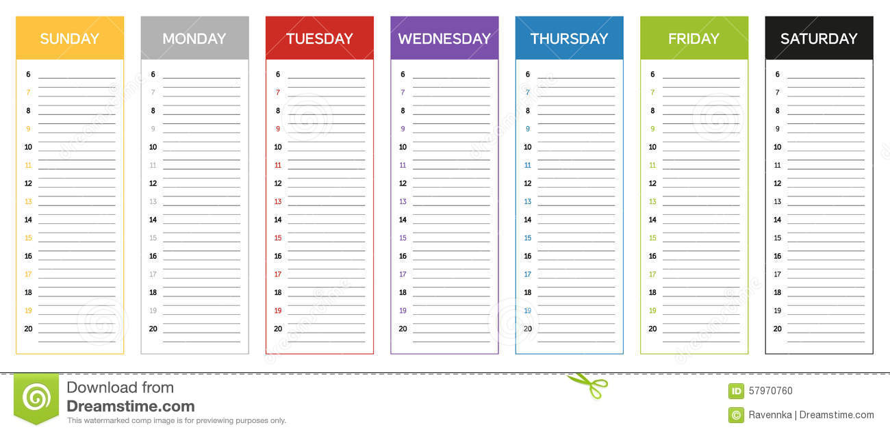 Week Planning Calendar In Colors Of The Day Stock Vector