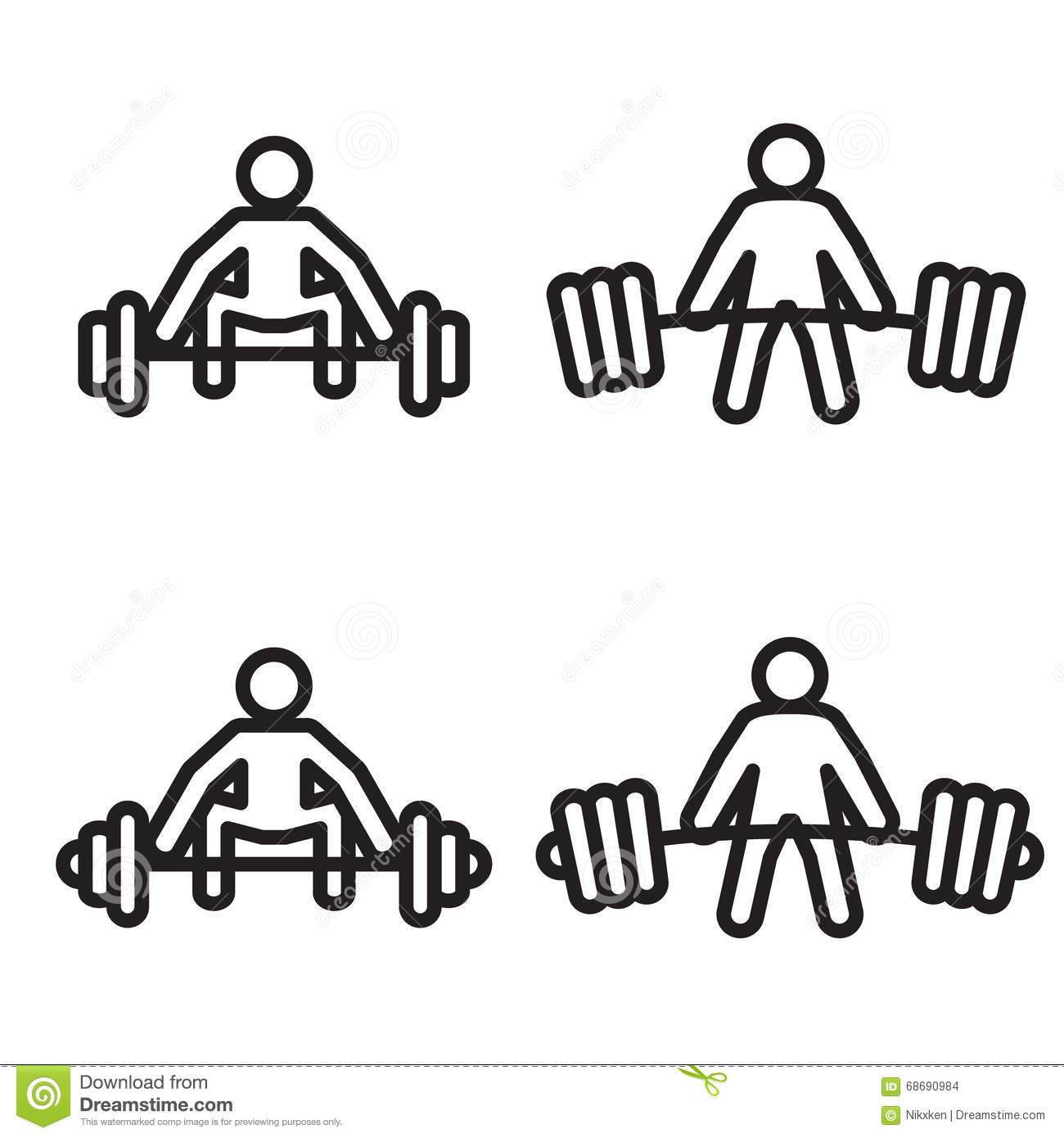Weightlifting Deadlift Icon In Four Variations Vector