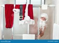 Weihnachtsmann-Duschen stockbild. Bild von badezimmer ...