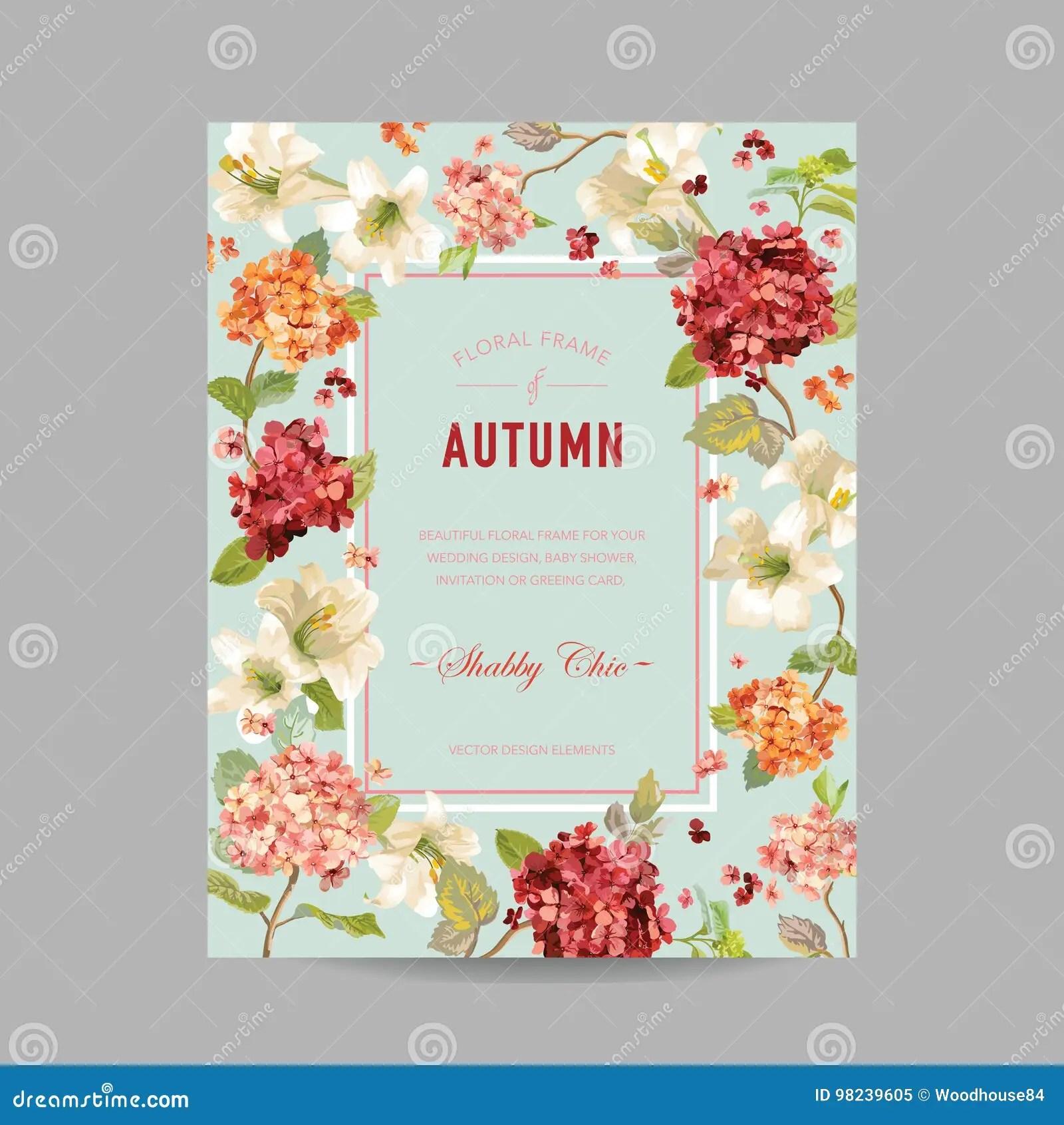 Einladung Hochzeit Karte Weinlese Herbst Und Sommer Blumenrahmen