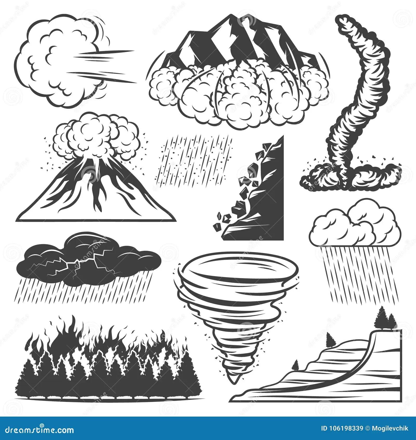Weinlese Naturkatastrophe Sammlung Vektor Abbildung