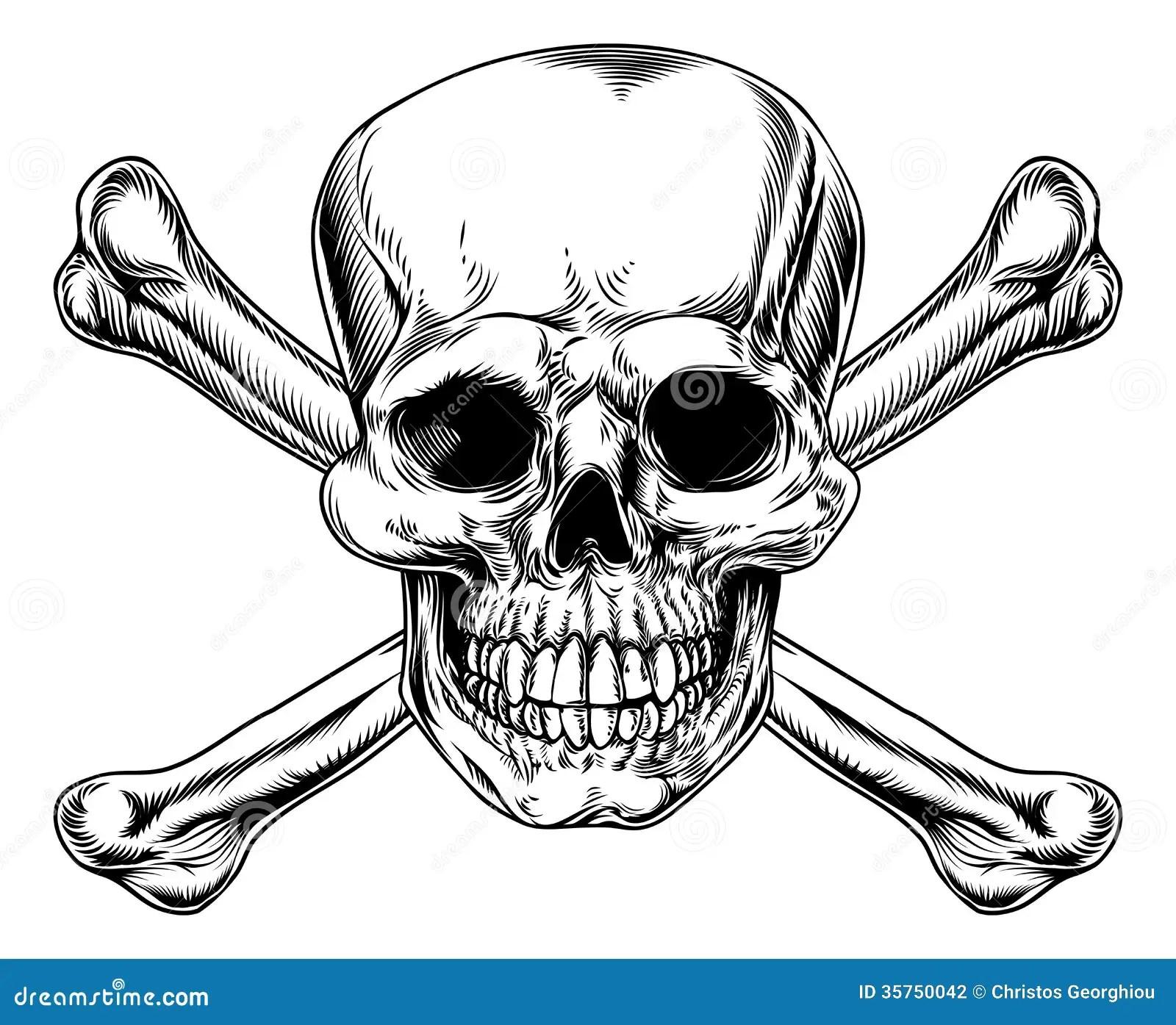 Weinlese Totenkopf Mit Gekreuzter Knochen Zeichen Vektor