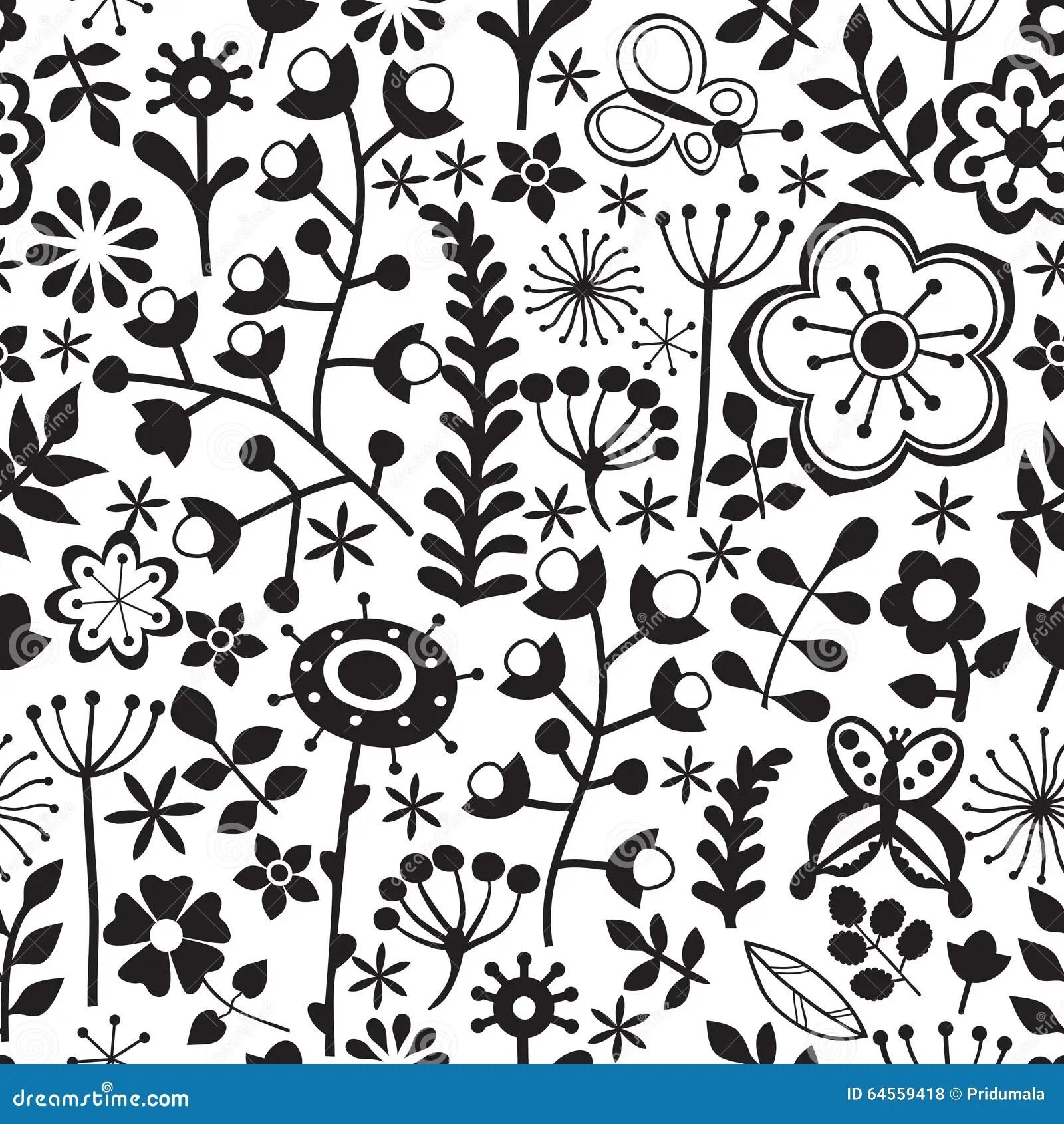 Wektorowy Kwiatu Wzor Czarny I Bia Y Bezszwowa Botaniczna