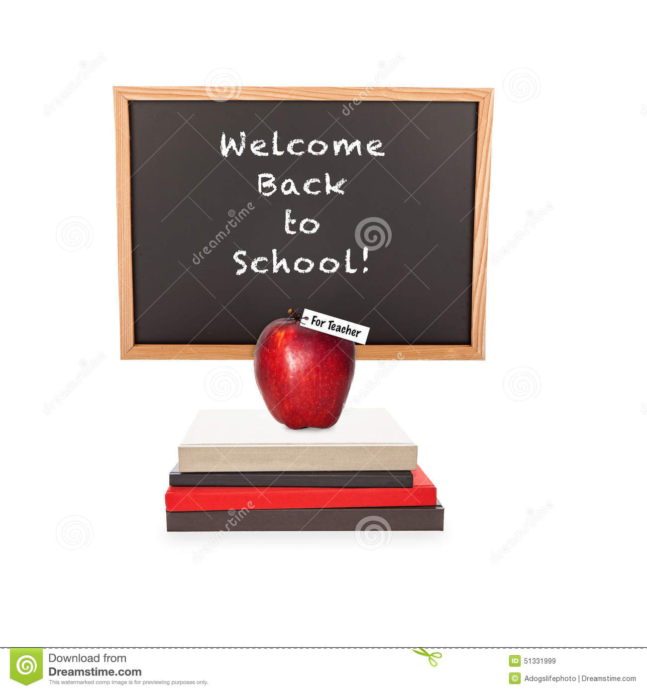 Welcome Back To School Chalkboard Books Apple Stock Image