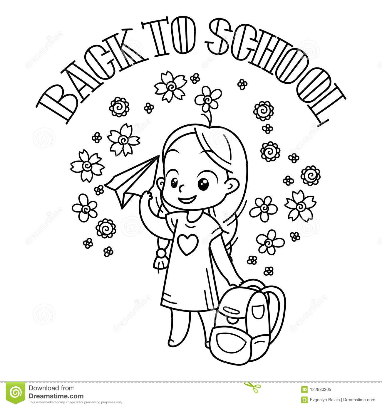 Welcome Back To School. Cute School Kid Ready To Education