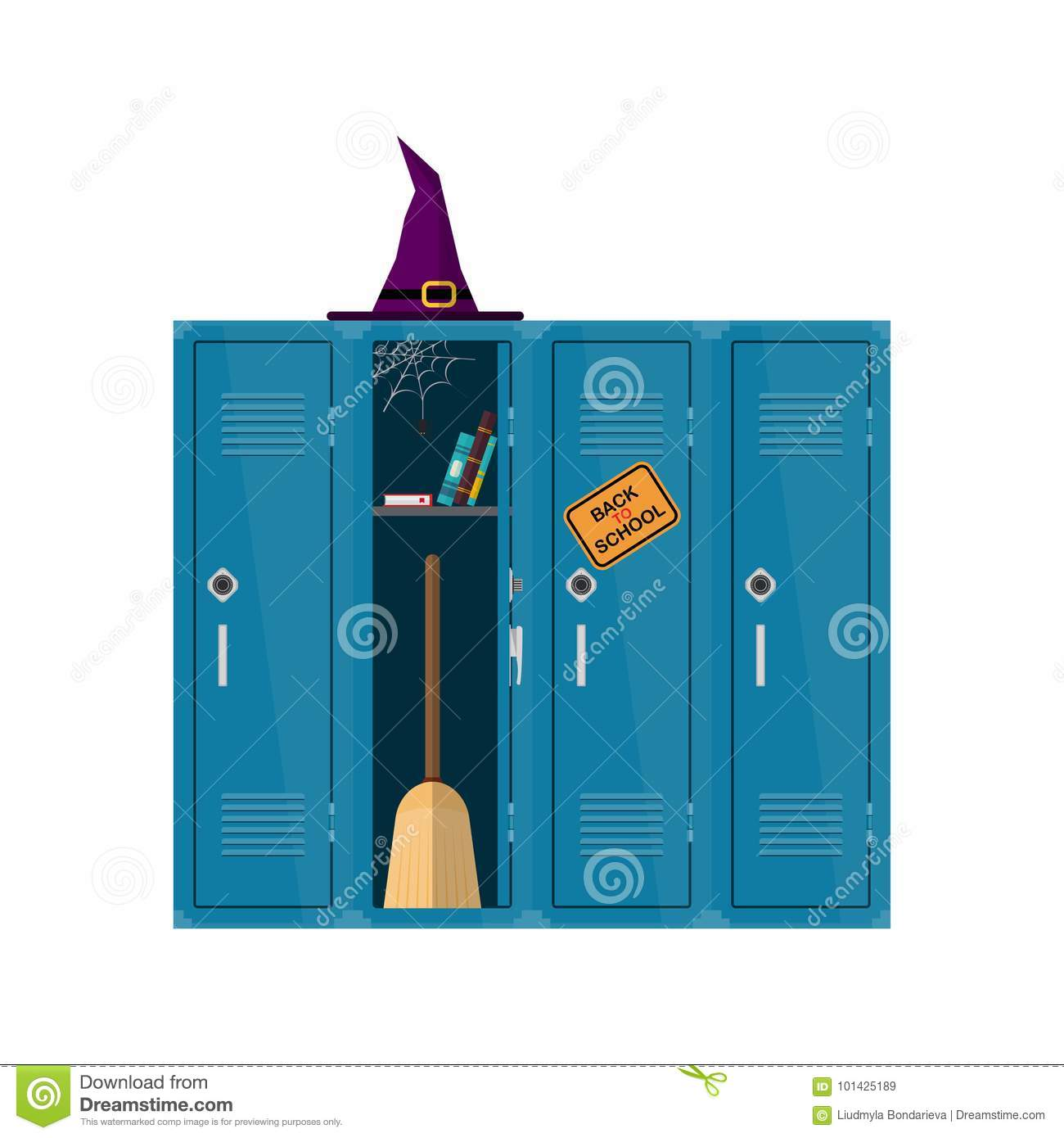 hight resolution of welcome back to school illustration flat vector witch clipart with cupboard with books and broom school locker halloween design colorful interior