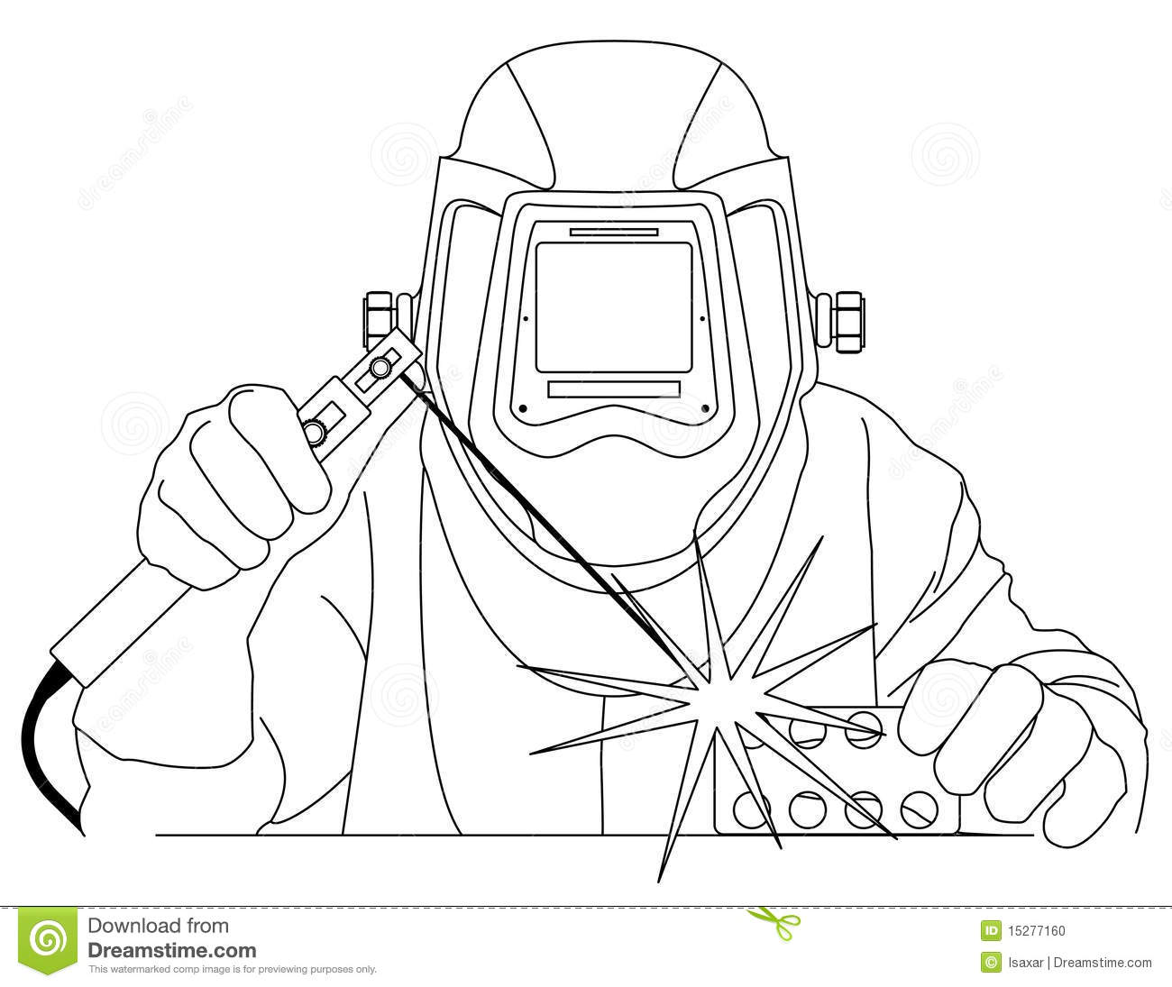 Welder At Work Stock Vector Illustration Of Helmet