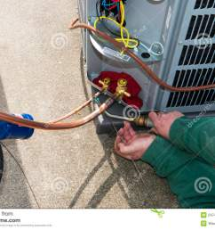 welding install central air conditioner ac unit stock photo image an ac service technician is [ 1300 x 958 Pixel ]