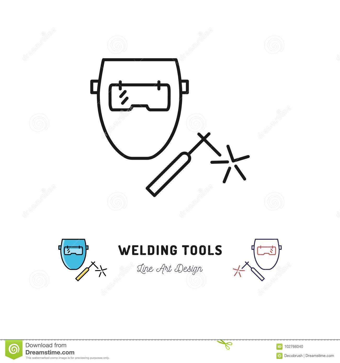 hight resolution of welding tools icon welding machine and welder mask vector thin line art symbol
