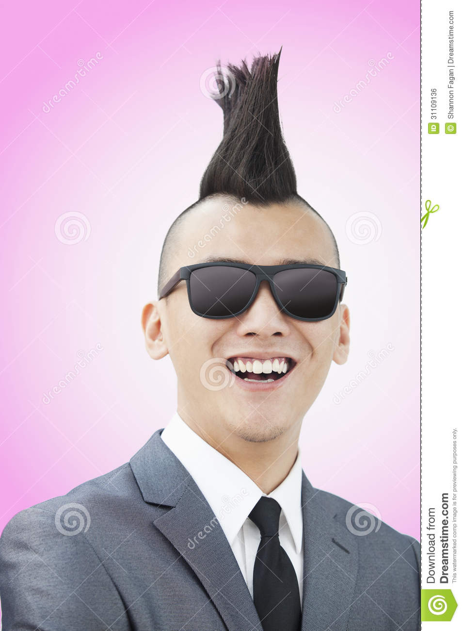 Well Dressed Young Man With Mohawk And Sunglasses Smiling