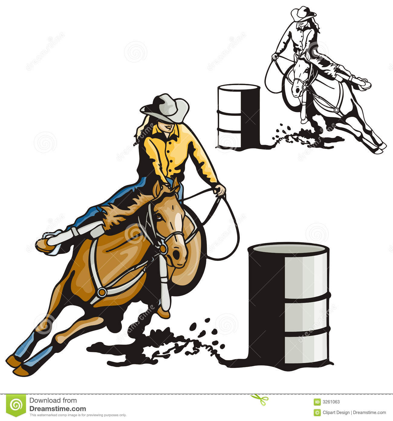 hight resolution of vector illustration of a ladies barrel racing sport eps file available