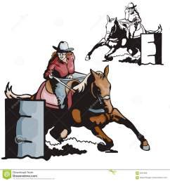 vector illustration of a ladies barrel racing sport eps file available  [ 1300 x 1390 Pixel ]