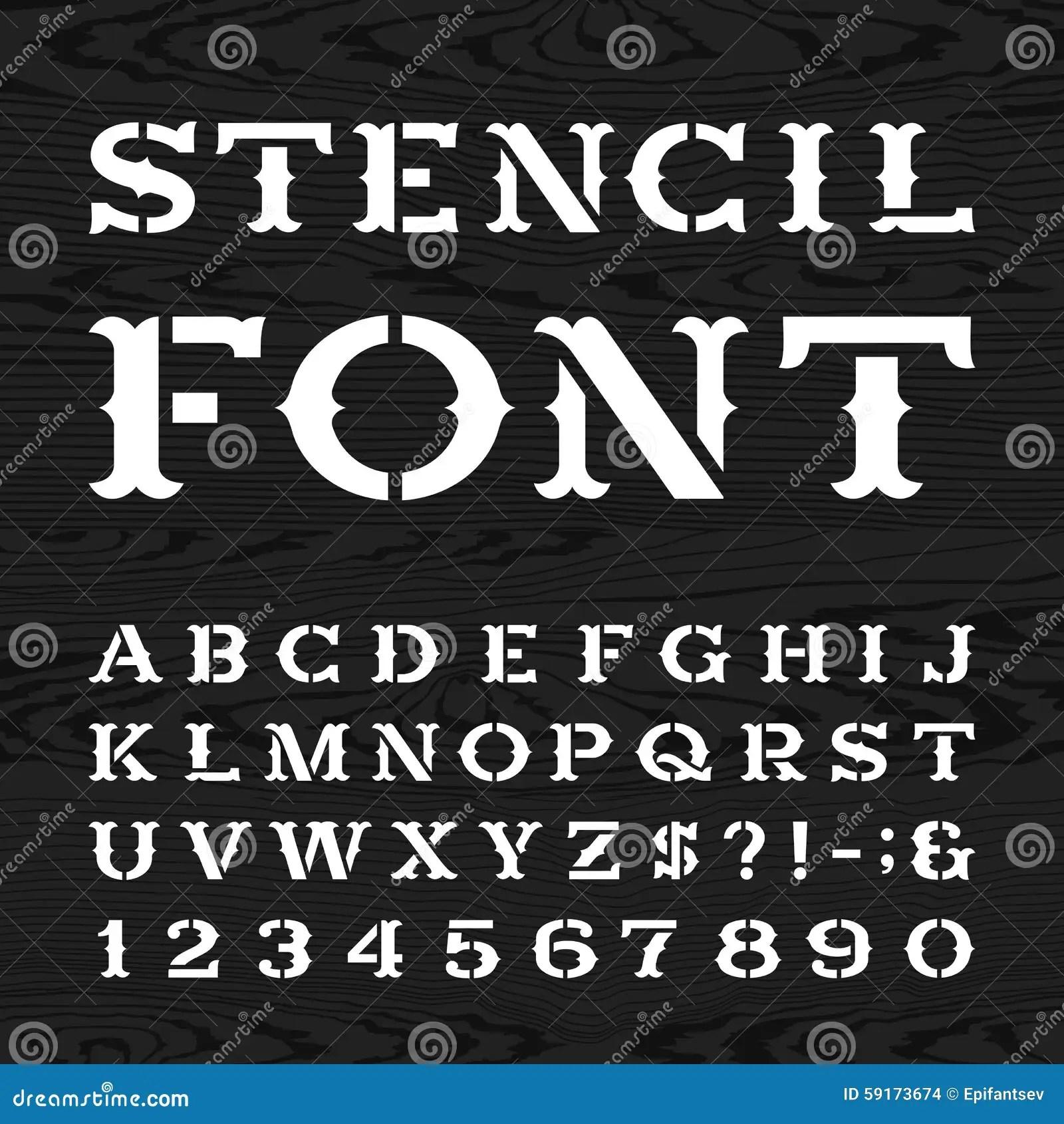 Western Retro Alphabet Vector Stencil Font Stock Vector