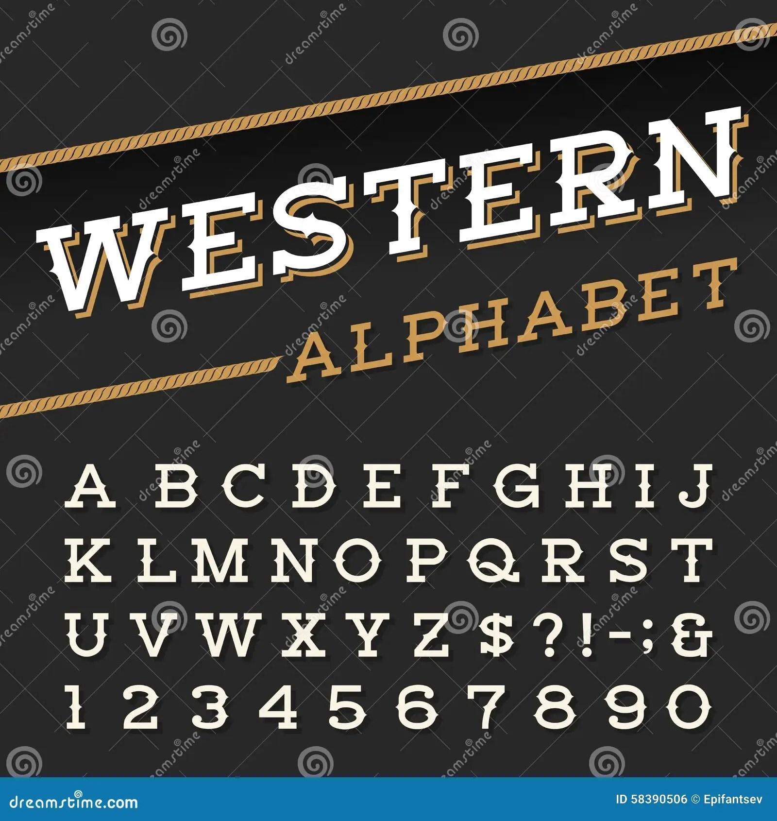 Western Style Retro Alphabet Vector Font Stock Vector