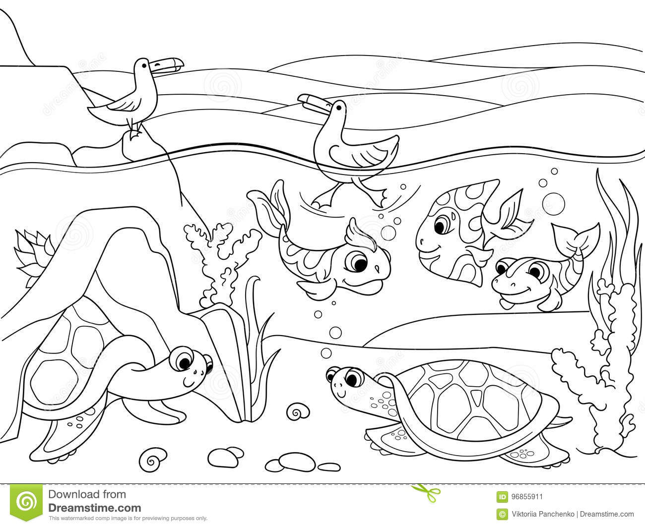 Wetland Landscape With Animals Coloring Vector For Adults Stock Vector