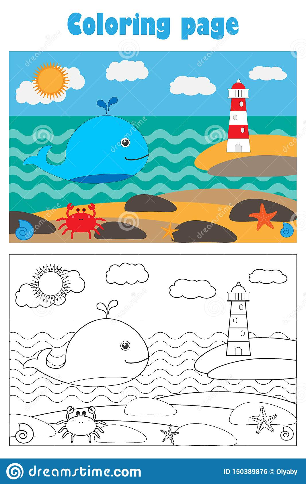 Whale And Lighthouse In Cartoon Style Summer Coloring