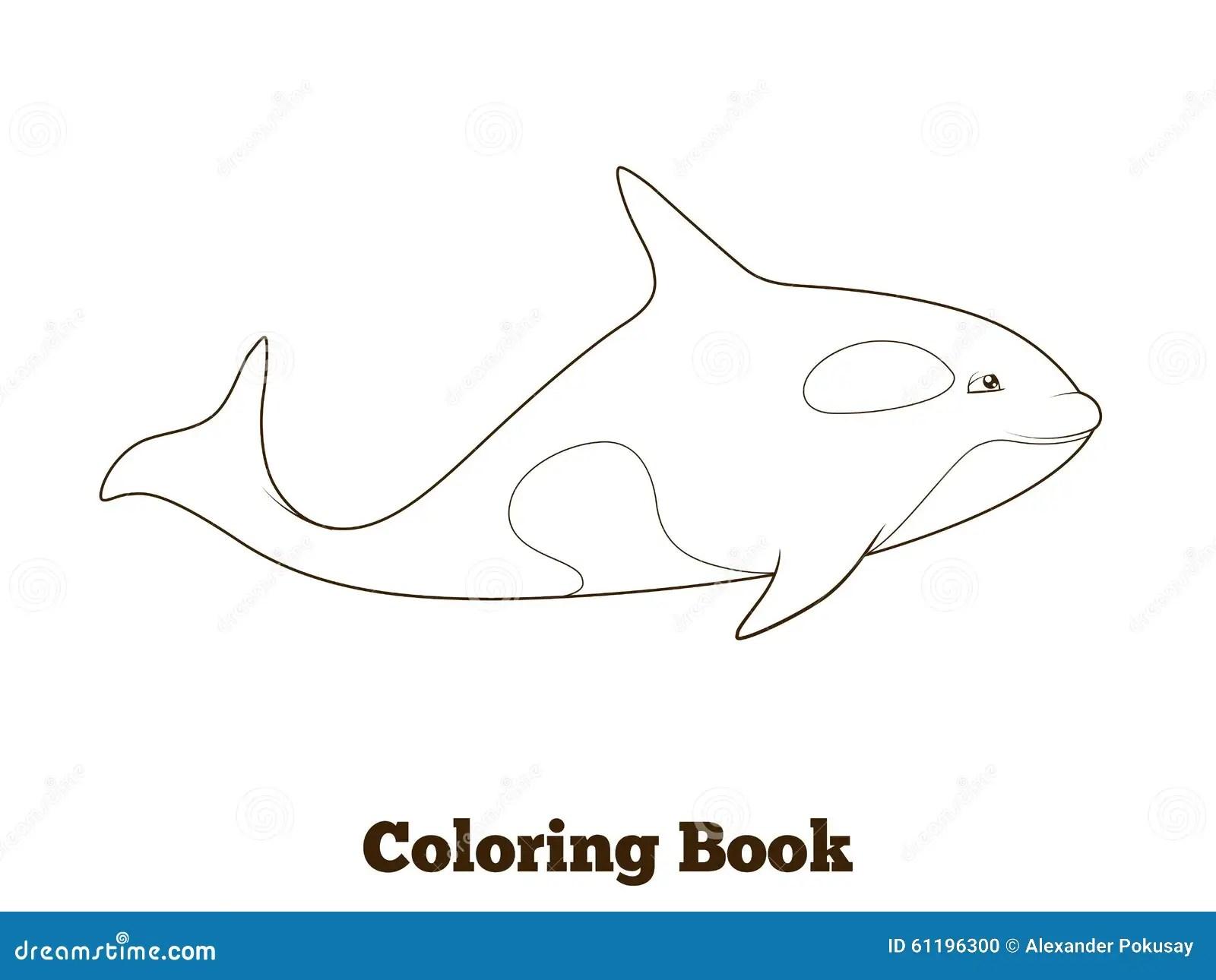 Whale Orca Cartoon Coloring Book Vector Stock Vector