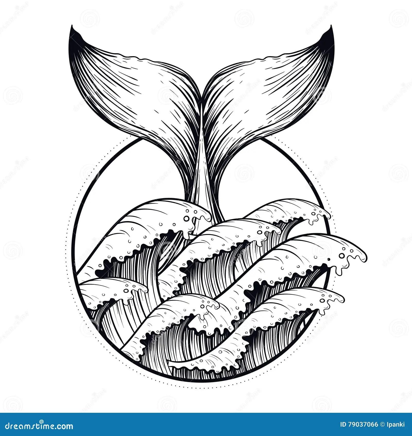 Whale Tail In Sea Waves, Boho Blackwork Tattoo. Ocean Line