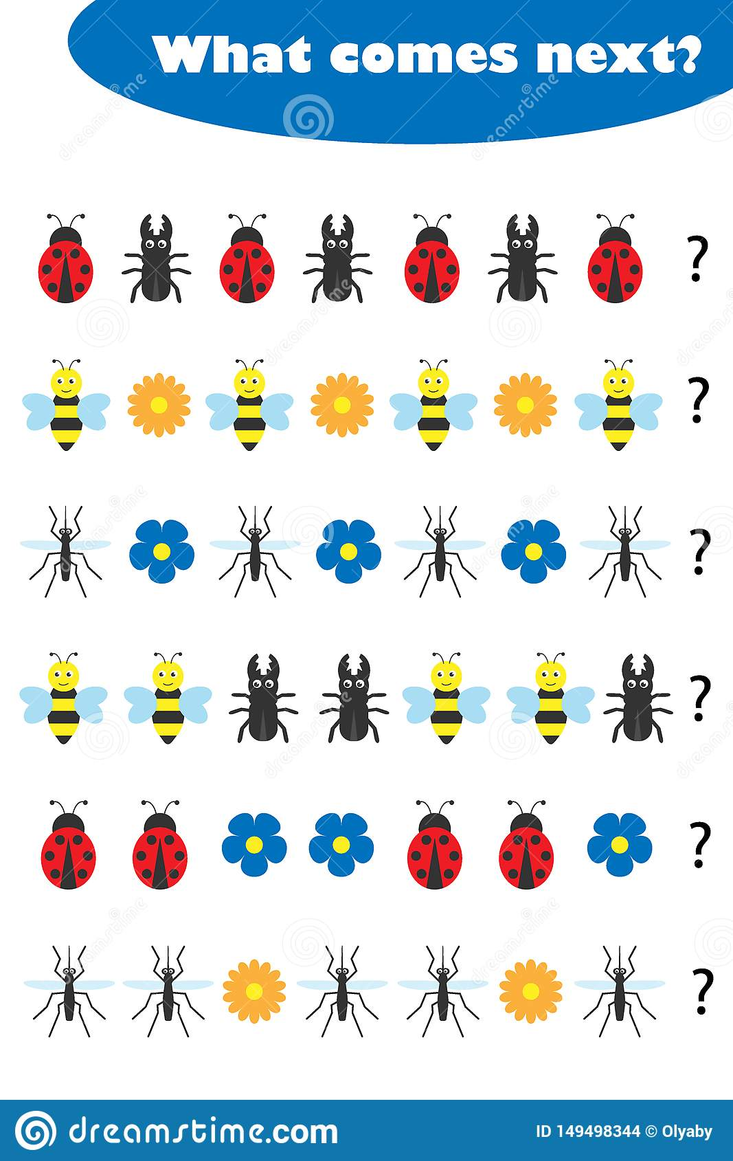 What Comes Next With Insects Pictures For Children Fun