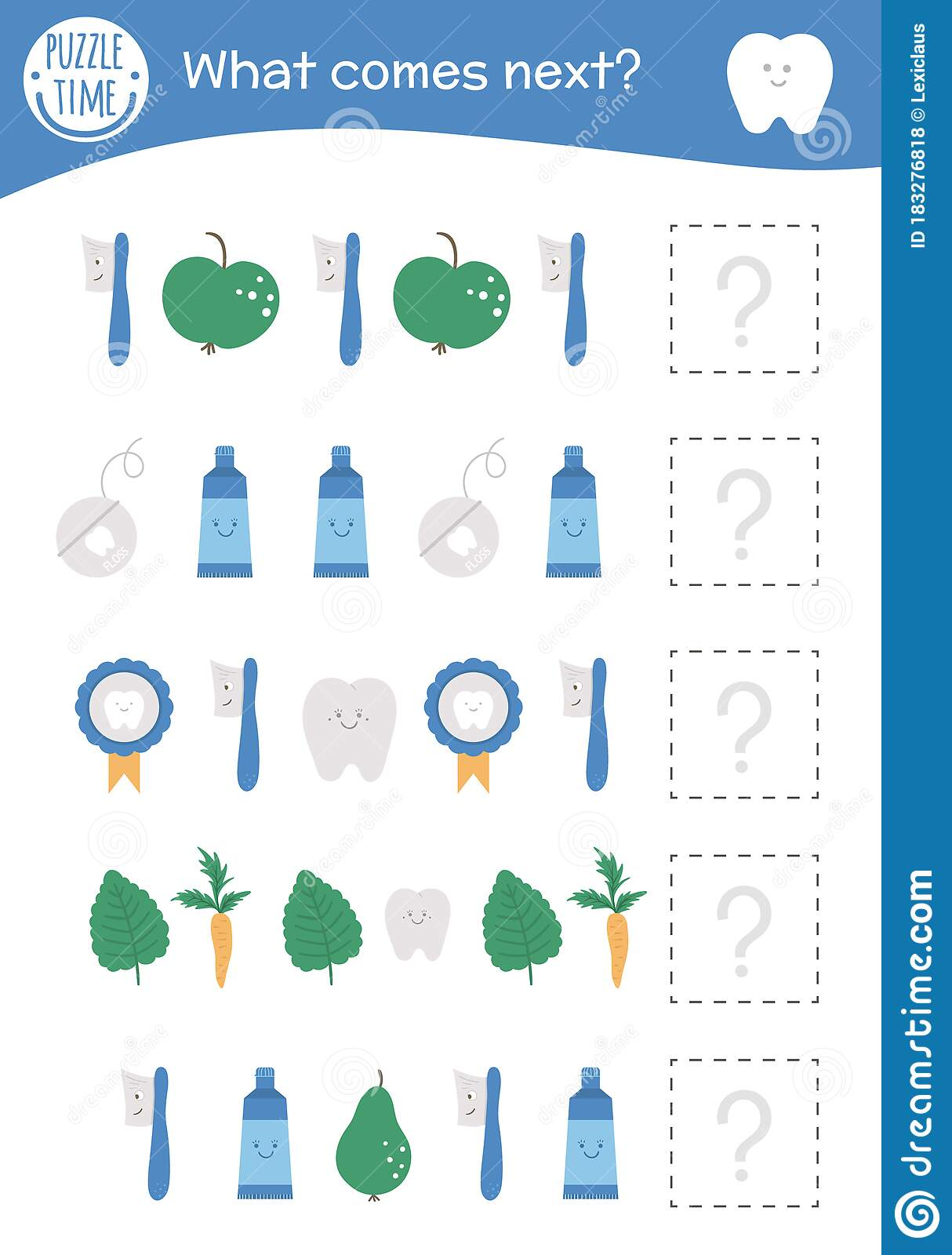 What Comes Next Tooth Hygiene Matching Activity For