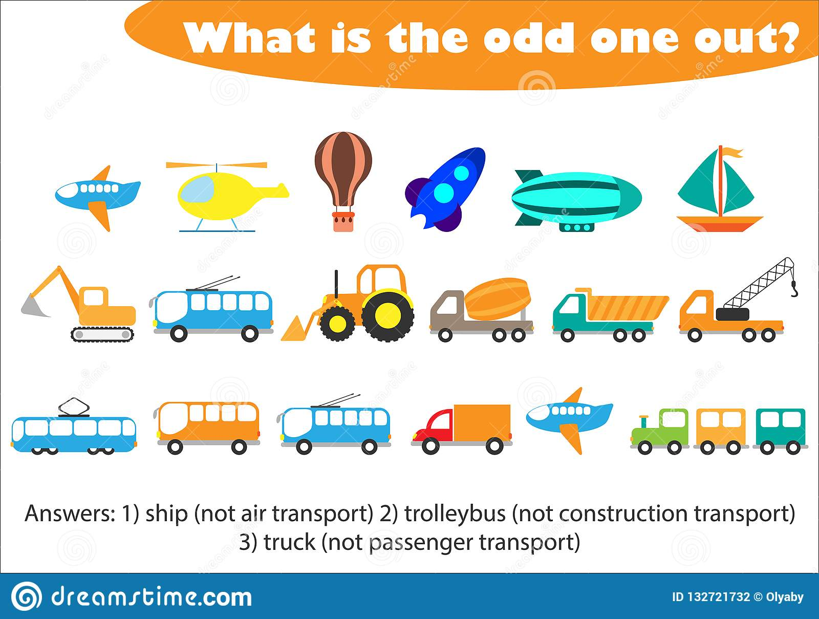 What Is The Odd One Out For Children Transport In Cartoon