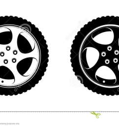 set of wheels clipart in white and black disks vector illustration for tire service or auto business decoration premium design of wheels on white  [ 1300 x 738 Pixel ]