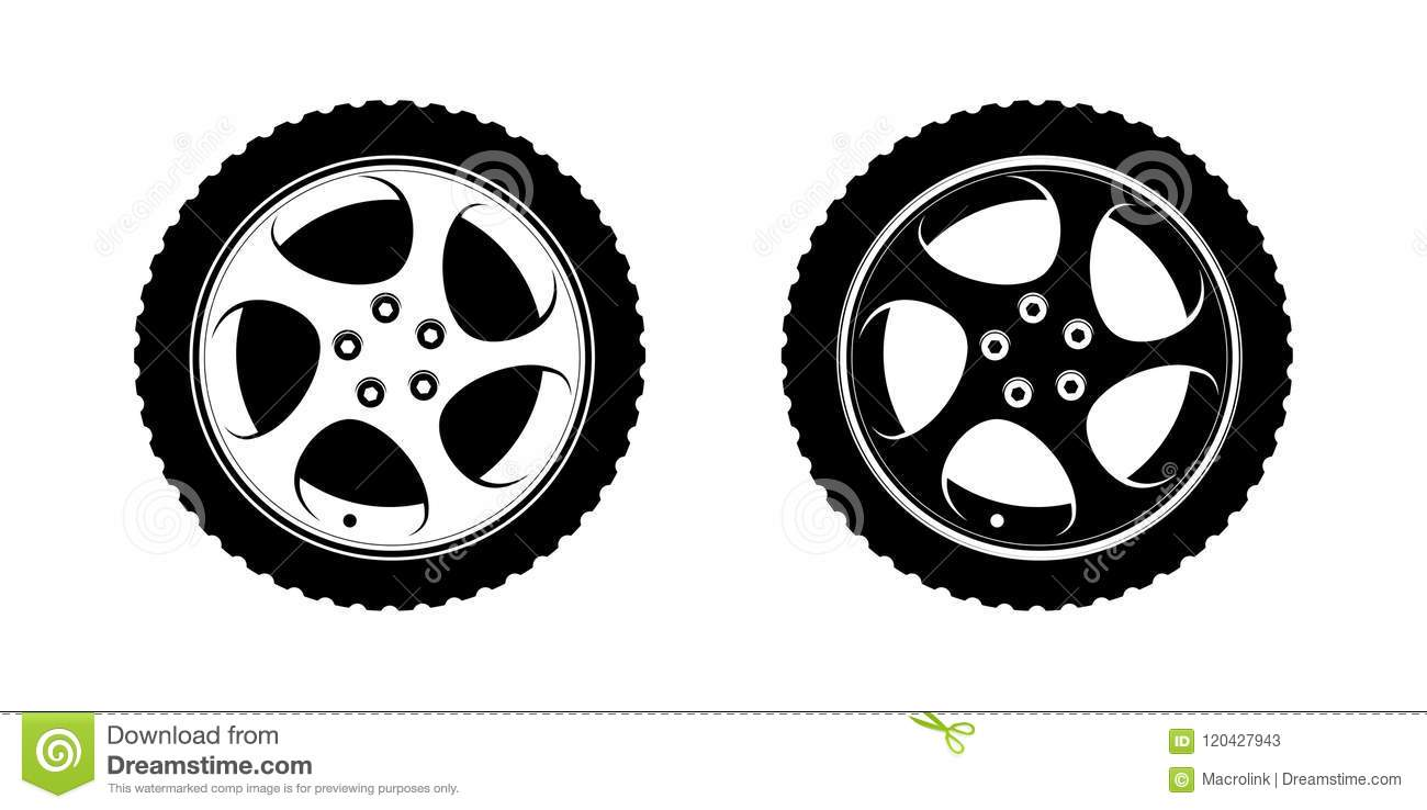hight resolution of set of wheels clipart in white and black disks vector illustration for tire service or auto business decoration premium design of wheels on white