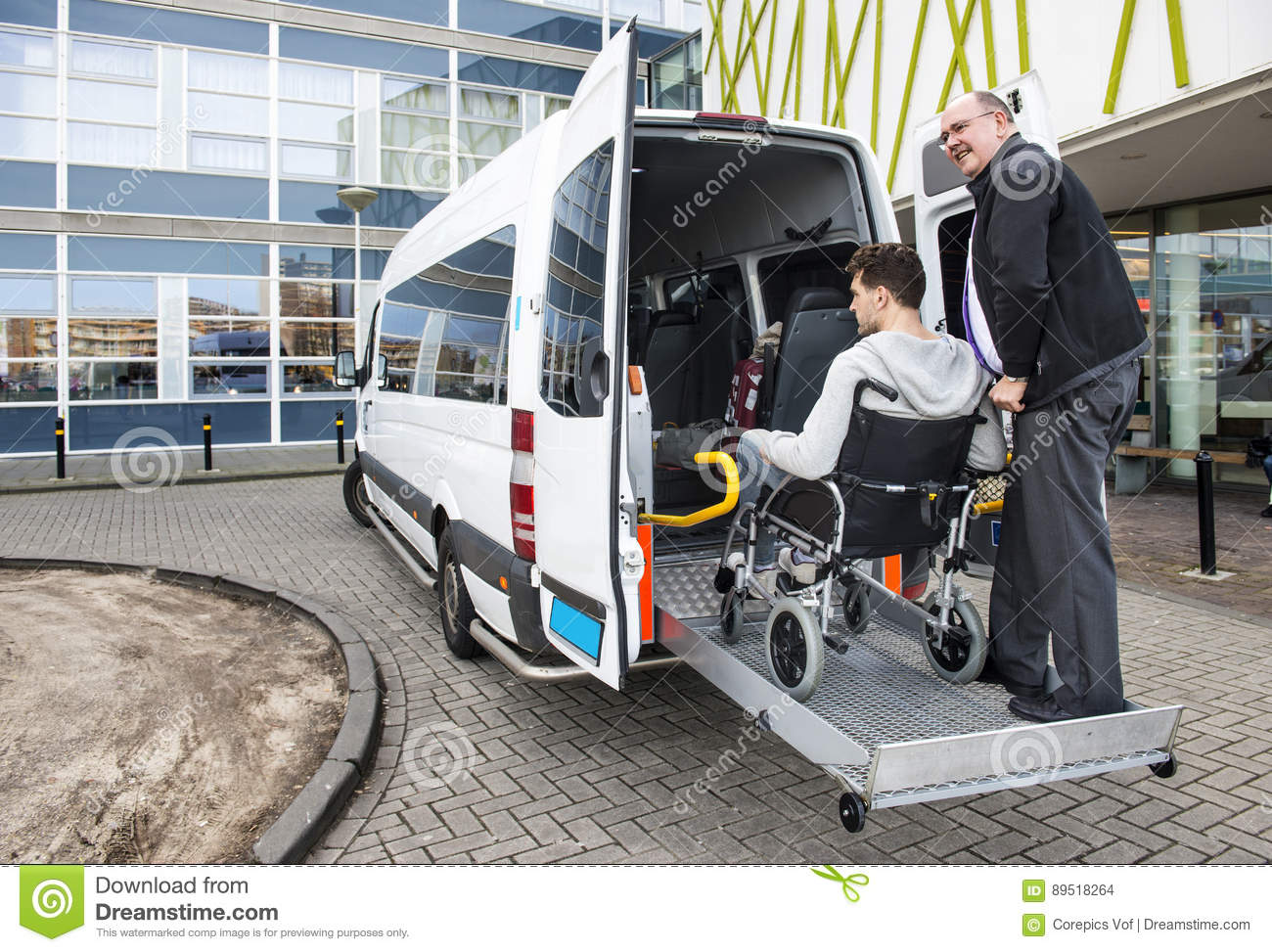 wheelchair cab best potty chair taxi pick up stock photo image of specialised